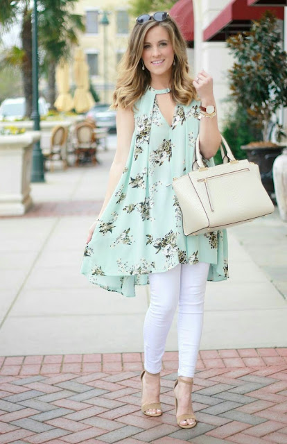 Tunic floral Dress with white tights