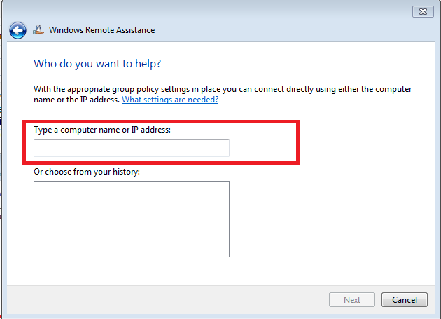 Enter IP address or computer name