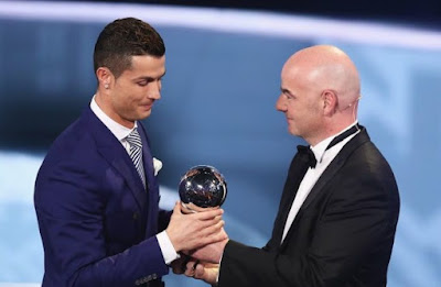 CRISTIANO RONALDO WINS BEST FIFA PLAYER OF THE YEAR AWARDS