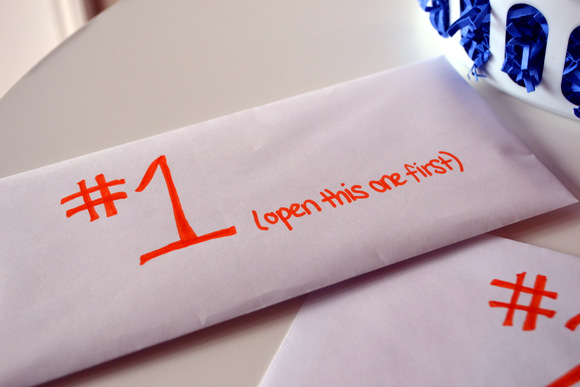 Envelope with #1 written on thr front