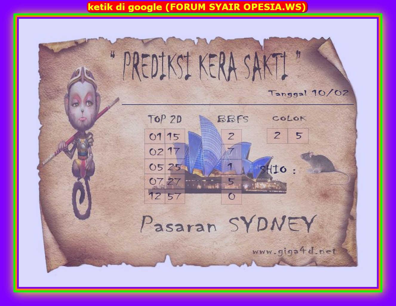 Kode syair Sydney Senin 10 Februari 2020 126