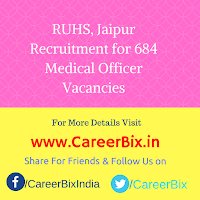 RUHS, Jaipur Recruitment for 684 Medical Officer Vacancies