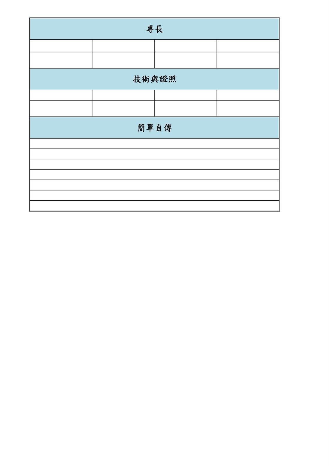 (辦公室應用軟體)學習網誌: EX01: 履歷表-Word表格的應用