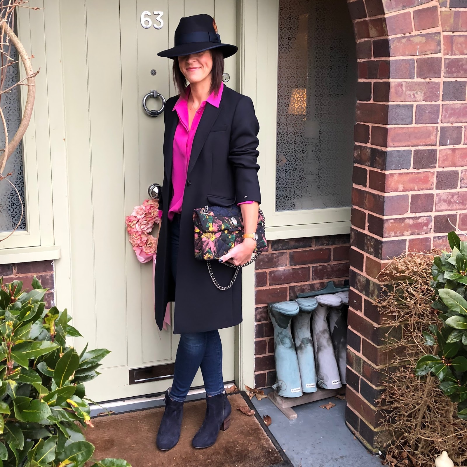 "my midlife fashion, hawes and curtis navy madison fedora hat, marks and spencer silk shirt, tommy hilfiger celeste classic coat, j crew 8 "" toothpick jeans, boden boho boots, kurt geiger kensington fabric bag"