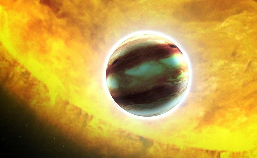 Un planeta con nubes de rubíes y zafiros