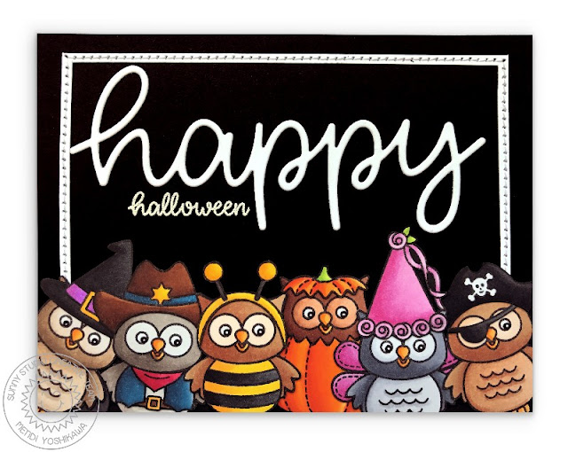 Sunny Studio Stamps: Owls in Costumes Halloween Card using Happy Thoughts stamps & Happy Word die