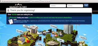 halaman setelah tombol register di klik saat pendaftaran marketglory
