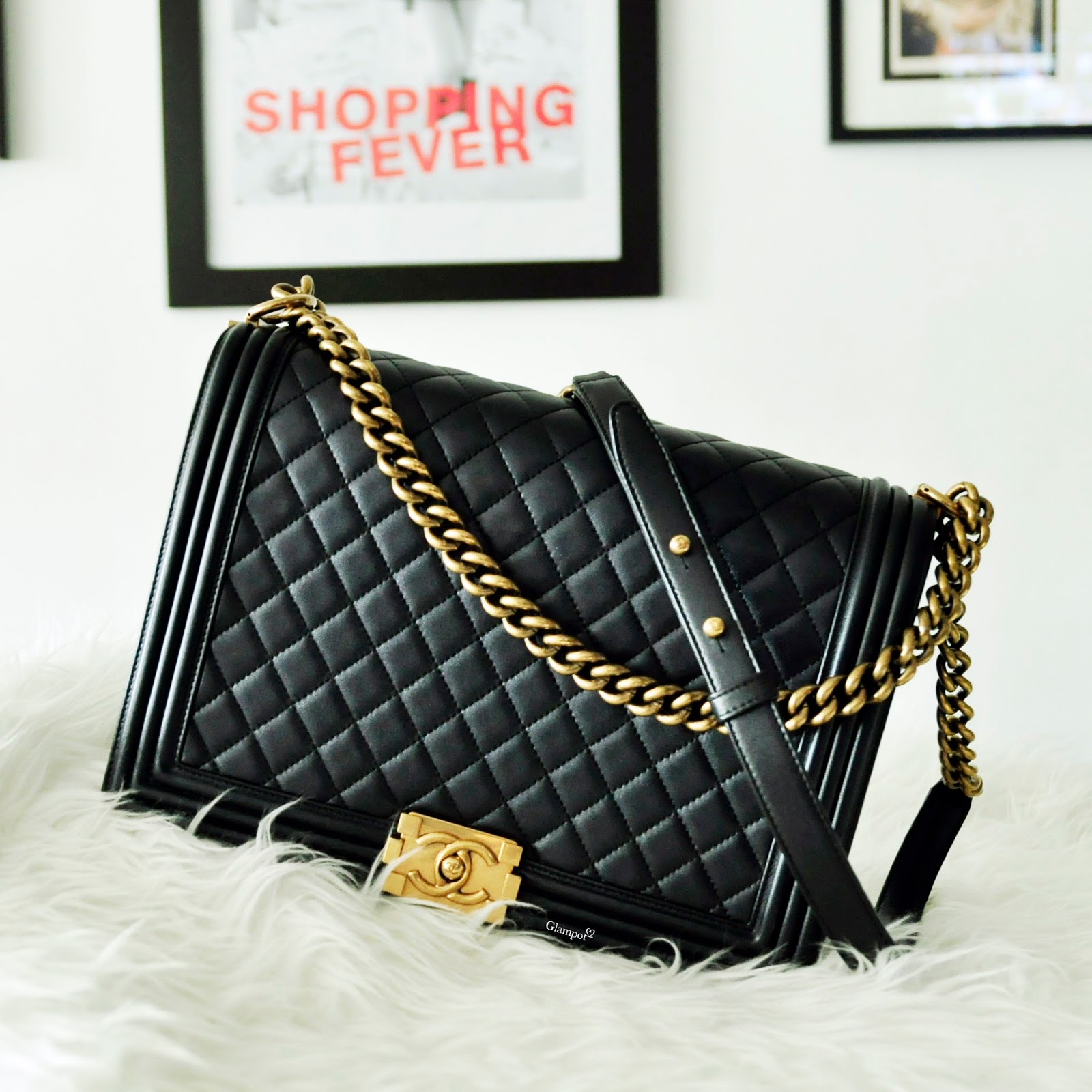 Chanel Boy Maxi Glittery Black And Gold Hardware Like New Condition There Was Only 2 Units In Singapore None Malaysia Price Rm 18 990