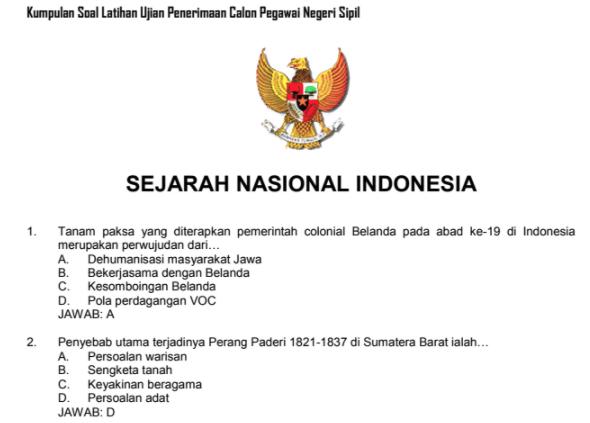 Contoh Soal Tes Cpns Sejarah Nasional Indonesia Dan Kunci Jawaban Pembahasan Portal Dadang Jsn