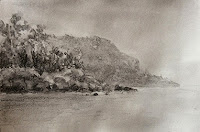 Cretacolour 8B water soluble graphite painting of a seashore by Manju Panchal