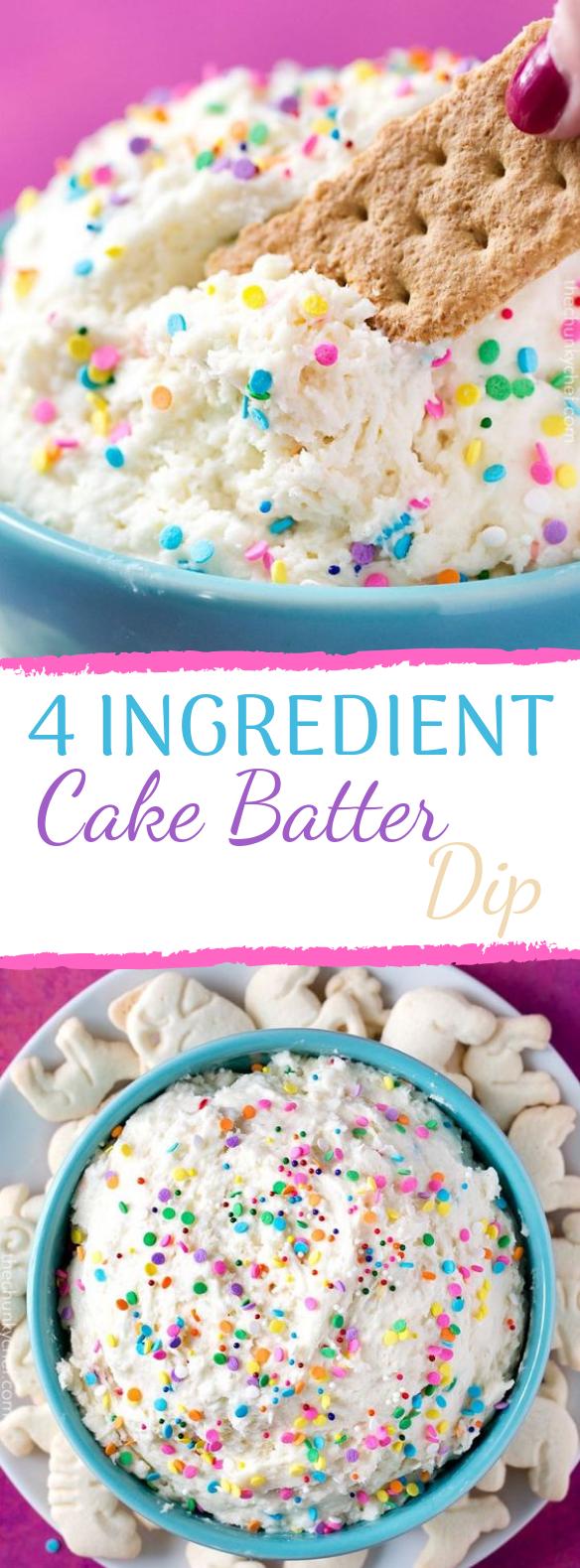 4 INGREDIENT FUNFETTI CAKE BATTER DIP #party #desserts