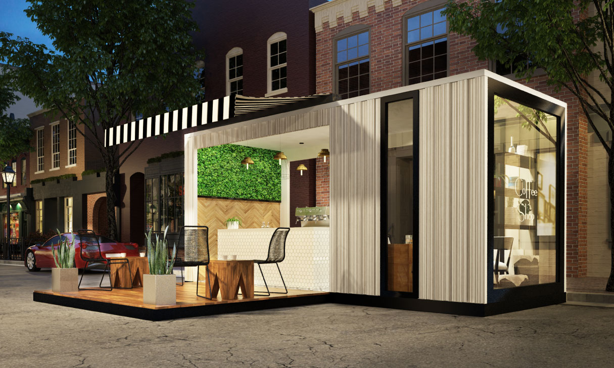 container cafe design container interior design idea. Black Bedroom Furniture Sets. Home Design Ideas