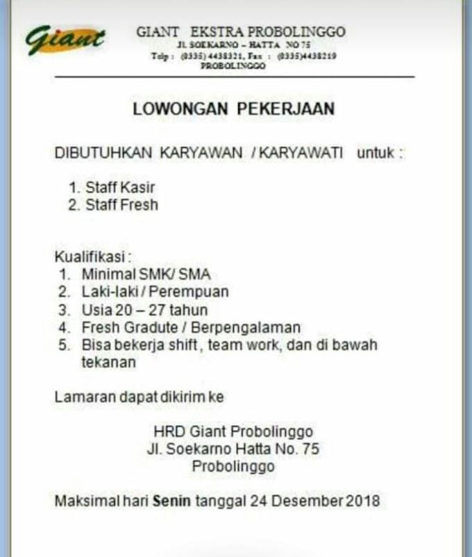 Info Lowongan Kerja Giant Ekstra Probolinggo