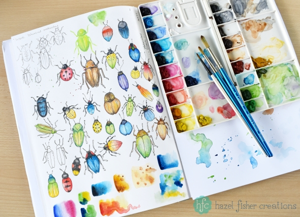 My Entry to Spoonflowers Whimsical Watercolour Insects Challenge by Hazel Fisher Creations. Watercolour and pen illustrations. Sketchbook page work in progress.