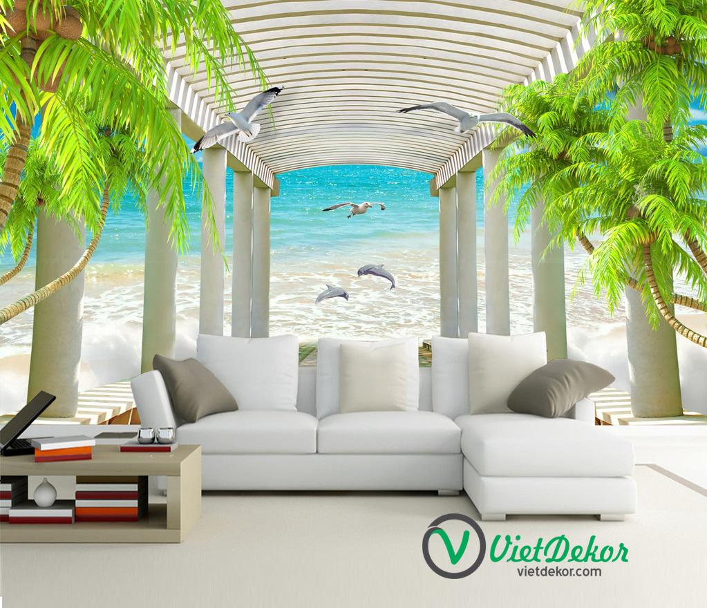 Tranh 3d dán tường phong cảnh biển cá heo