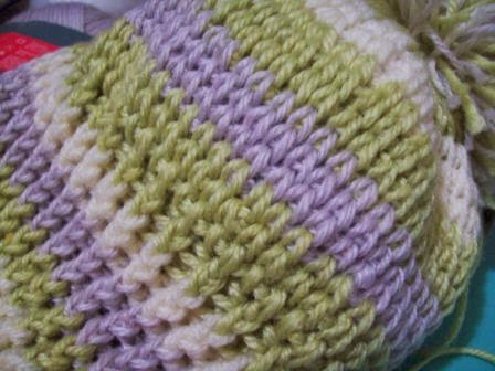 close up of knitted look crochet hat