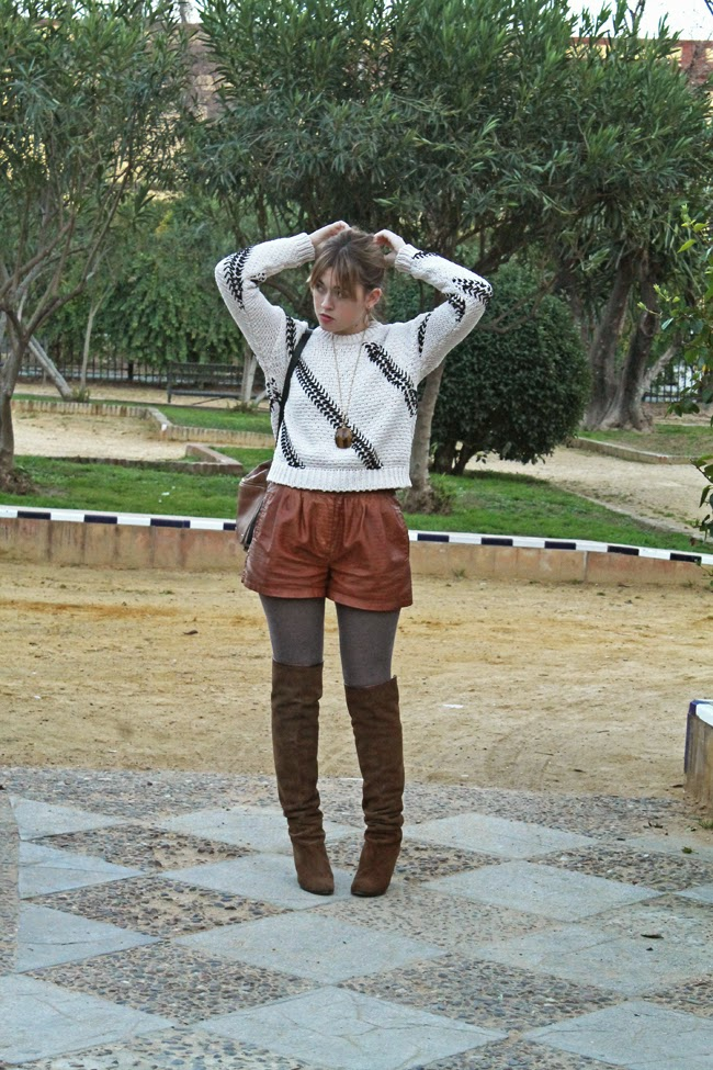 crop top sweater, leather shorts