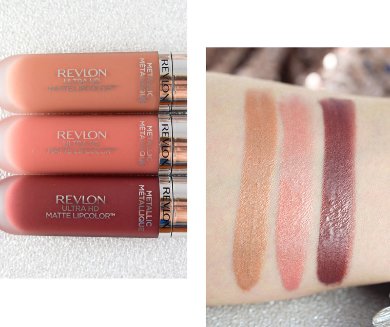 Revlon Ultra HD Matte Lipcolor Metallic, 715 Glow Flamme, 690 Gleam Lueur, 705 Shine Luisant