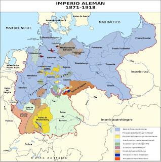 Extensión del Imperio alemán, a partir de 1871.