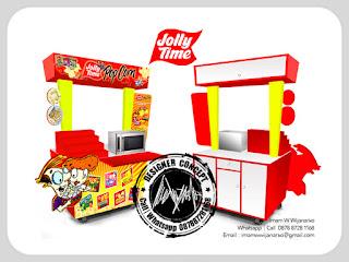 desain gerobak dan produksi gerobak popcorn jolly time
