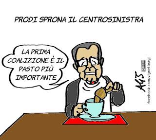 prodi, pd, coalizione di centrosinistra, politica, elezioni, satira, vignetta