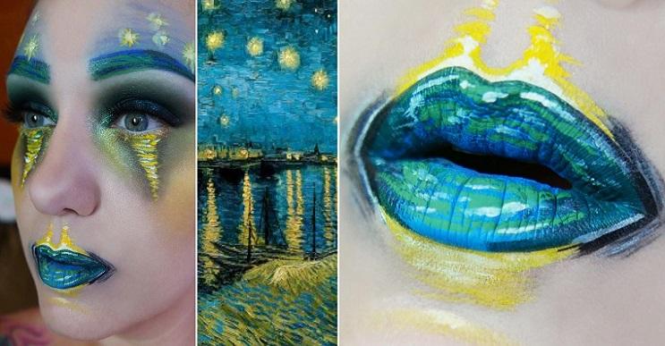 Arte efímero en la cara, belleza