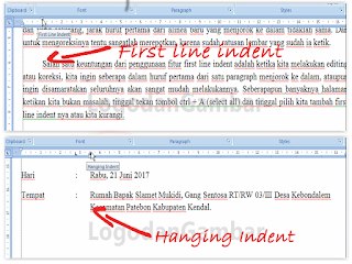 Kegunaan First Line Indent, Hanging Indent dan Left Indent1