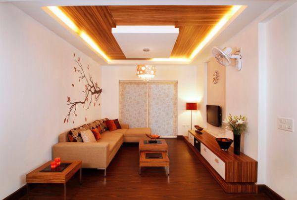Ruang Tamu Minimalis Dengan Plafon Modern Dan Klasik