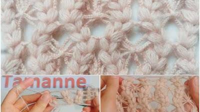 Chal de punto hojuelas con cadenetas a crochet