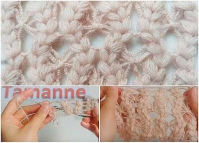 Punto hojuelas con cadenetas a crochet