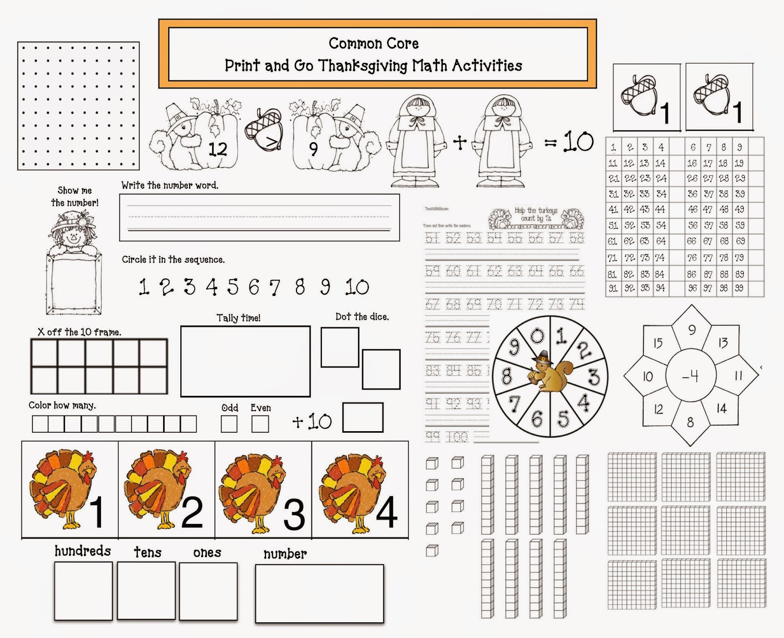 Classroom Freebies Common Core Thanksgiving Math Packet