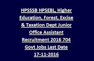 HPSSSB HPSEBL, Higher Education, Forest, Excise & Taxation Dept Junior Office Assistant Recruitment 2016 704 Govt Jobs Last Date 17-11-2016