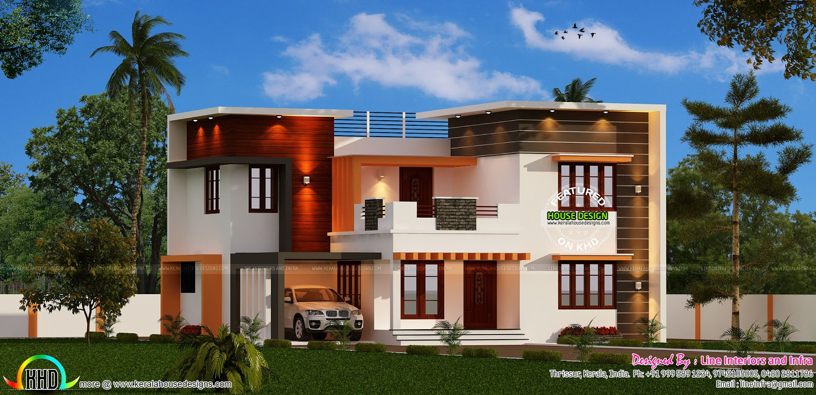 Modern 4 bedroom 3000 sq ft kerala home design and floor for Home designs 3000 sq ft