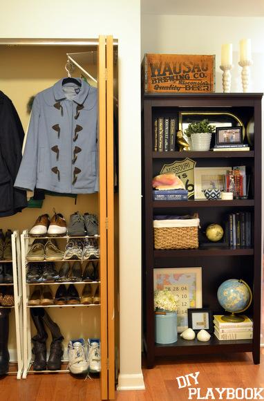 Front closet and bookshelf- no longer the world's worst!