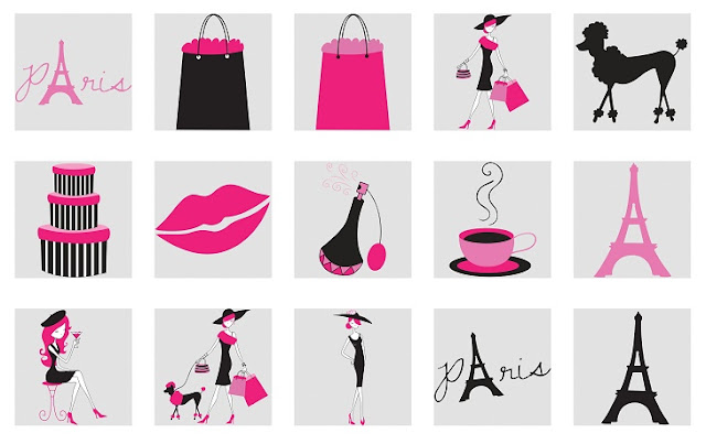 Shopping in Paris Clip Art.