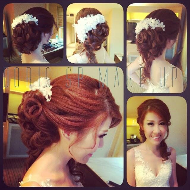 low v wedding dress side swept hair