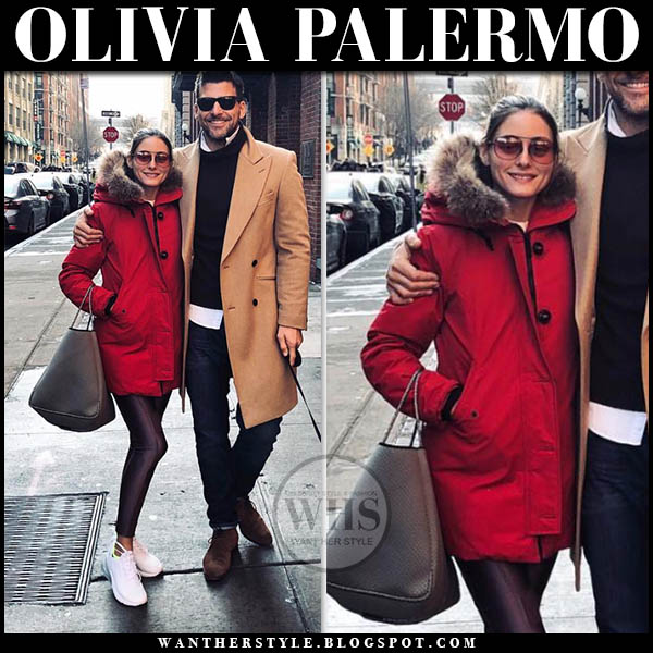 Olivia Palermo in red fur trimmed hood woolrich parka, leggings and red sunglasses westward leaning malcolm with johannes winter celebrity style february 3