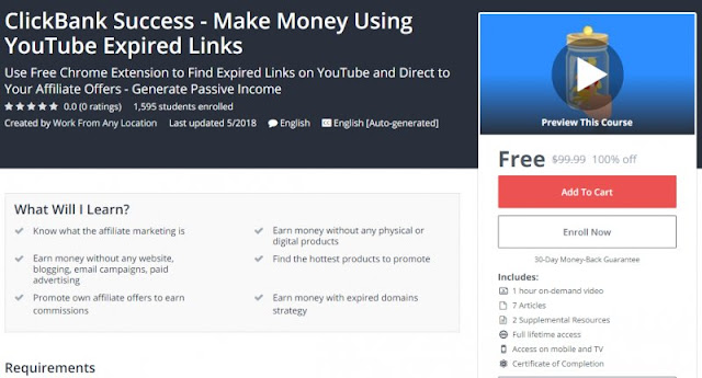 [100% Off] ClickBank Success - Make Money Using YouTube Expired Links| Worth 99,99$