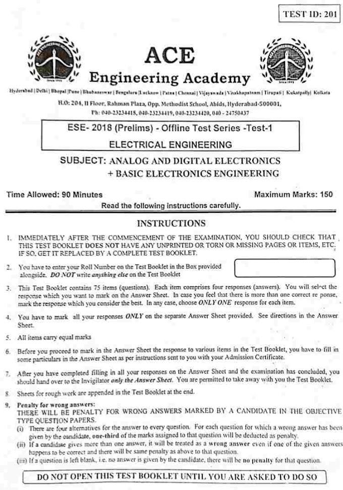 ACE ESE- 2018 (PRELIMS) OFFLINE TEST SERIES ELECTRICAL ENGINEERING TEST-1