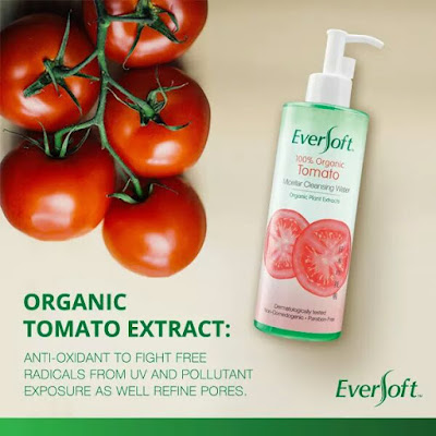 Produk eversoft,evesoft tomato micellar cleansing water,review pembersih muka eversoft tomato, pembersih muka dan penanggal make up eversoft,produk eversoft bebas bahan kimia