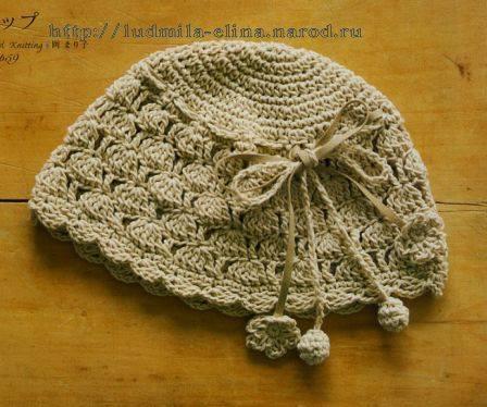 Gorro con lazo a Crochet