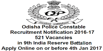 Odisha Police Constable Recruitment 2016-17