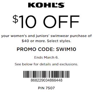 Kohls coupon: $10 Off $40 Swimwear