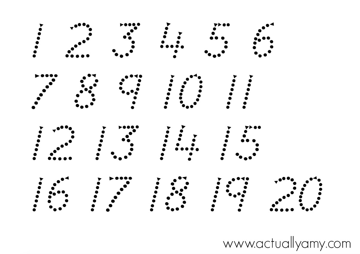Actually Amy: Number Tracing Printable