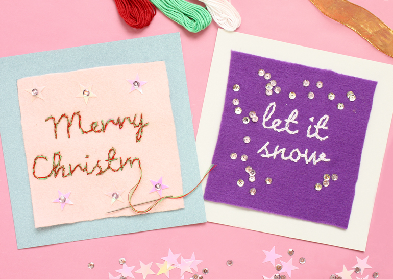 hand embroidered letter christmas cards