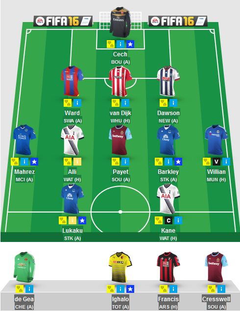The Blogger's Team for Gameweek 25 in Fantasy Premier League