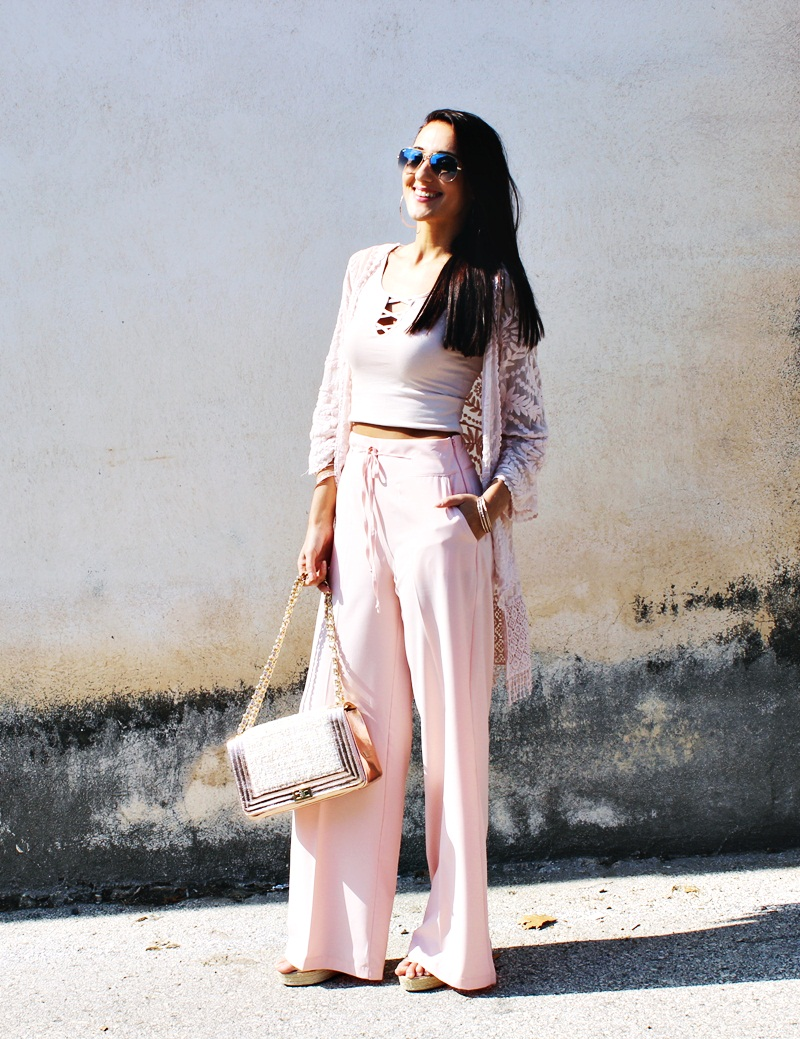 total light pastel pink look with lace kimono, palazzo pants and rose gold accessories