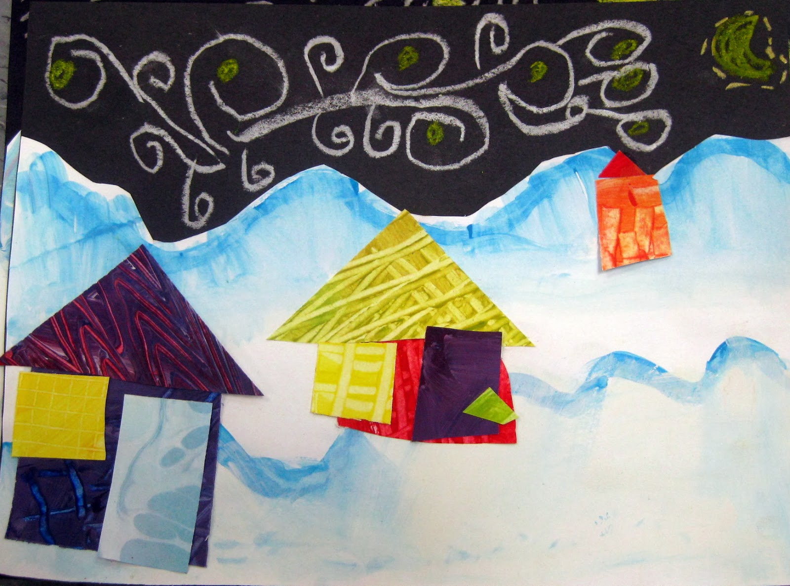 In The Art Room Winter Collage Landscapes By Kindergarten