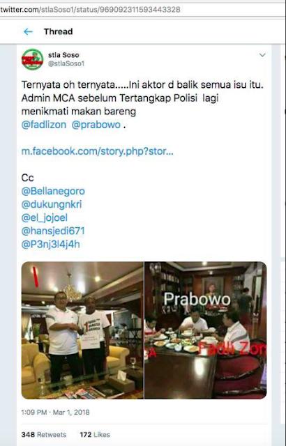"""PENJELASAN HOAX : Admin MCA Lagi Menikmati Makan Bareng @fadlizon @prabowo"""" Sebelum Tertangkap Polisi."""