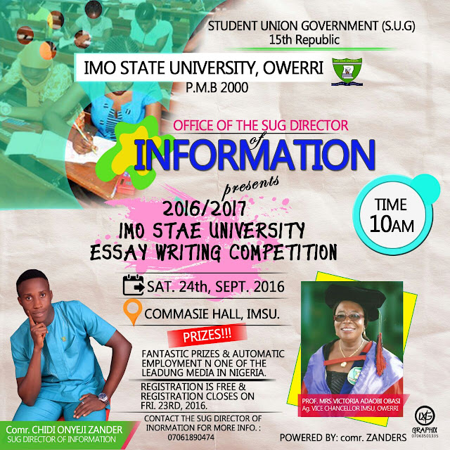 Imsu ARTICLE and ESSAY WRITING COMPETITION holds on 24th September grab your forms for free.